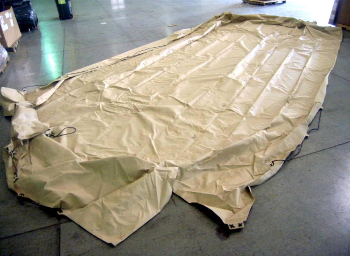 HEM-157 | 2540-01-507-7803 Cover,Fitted,Vehicular Body, 20 Feet by 14 Feet, Tan Vinyl Cargo Cover for MTVR MK23 (2).jpg