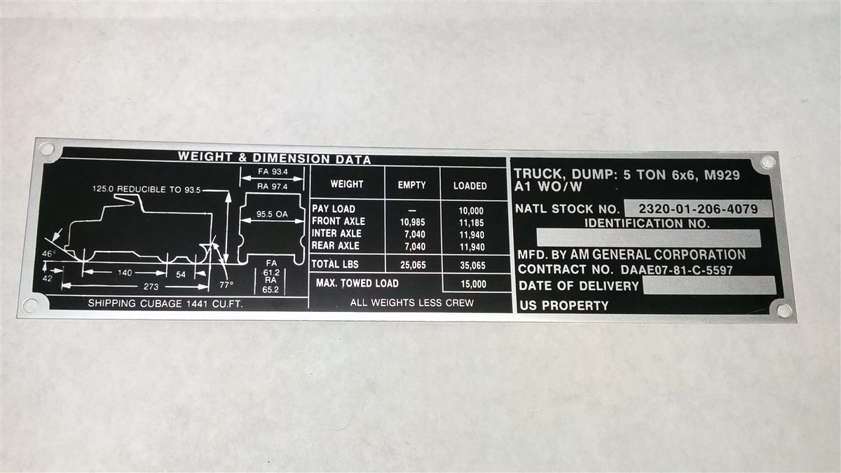 M929a1 Dump Truck Weight And Dimension Data Plate