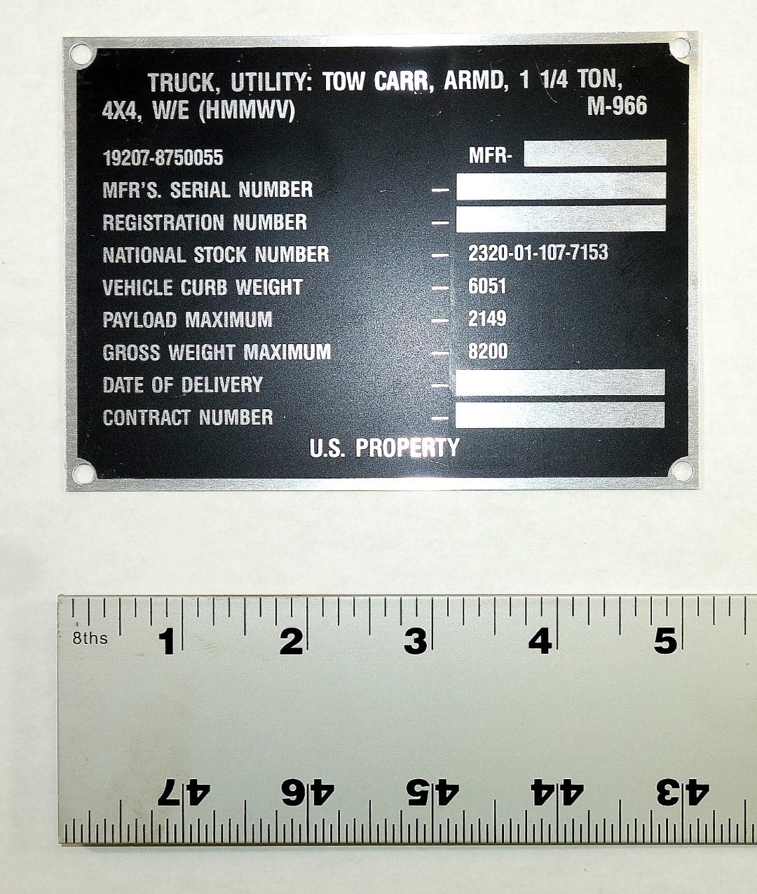 DT-428 | 9905-01-185-3134 Decal Dataplate M966 for HMMWV NOS (2).JPG